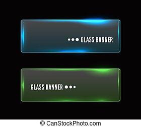 Vector modern transparent glass banner set