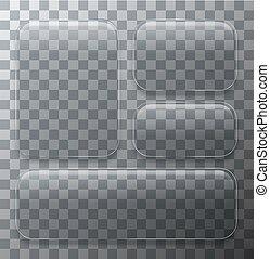 Vector modern transparent glass plates set on sample background