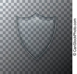 Vector modern transparent shield glass plate with shadow on sample background.