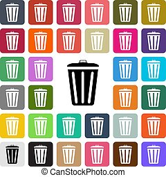 Vector modern Trash Bin flat design icon set in button