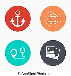 Vector modern travel colorful icons set