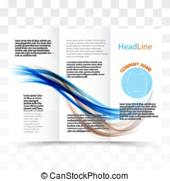 Vector modern tri-fold brochure design template with colorful dynamic wave background