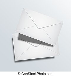 Vector modern two envelope on gray background