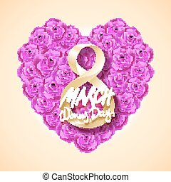 Vector modern valentines day or 8 march background. mothers day. greeting card. International Womans Day. pink rose heart background. flower