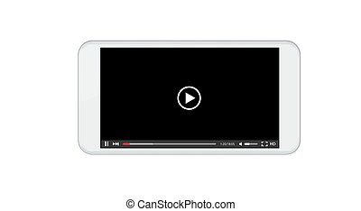 Vector modern video player window. Smartphone screen on white background.