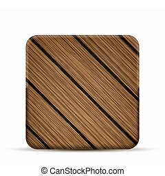 Vector modern wooden icon on white background.