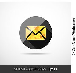 Vector modern yellow envelope icon