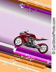 vector, moderne, image., achtergrond, motorfiets