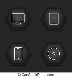 vector, moderno, adminículo, iconos, conjunto