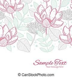 vector, moderno, arte de línea, florals, horizontal,...