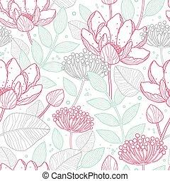 vector, moderno, arte de línea, florals, seamless, patrón,...