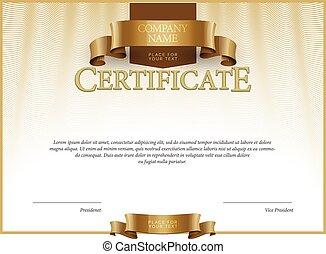 vector, moderno, diplomas, certificado, template.