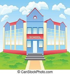 vector, moderno, escuela, edificio