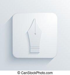 vector, moderno, pluma estilográfica, luz, icono
