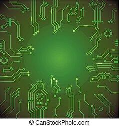 vector, moederbord, achtergrond., techniek, computer, groene, plank, circuit, technologie, ontwerp
