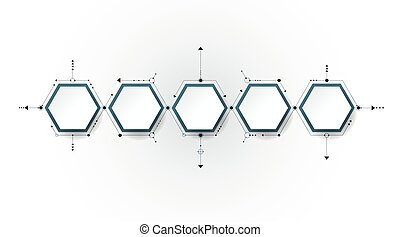 Vector molecule with 3D paper label, integrated Hexagon...