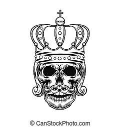 vector, monarca, ilustración, cráneo