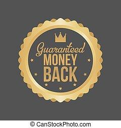 Vector Money Back Guarantee Gold Sign, Label