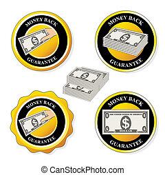 Vector money back guarantee icons, circular stickers with dollar - illustration