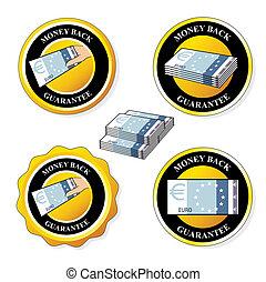 Vector money back guarantee icons, circular stickers with euro