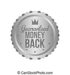 Vector Money Back Guarantee Metal Silver Sign, Label
