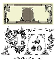 Set of detailed vector ornaments based off a one dollar bill.