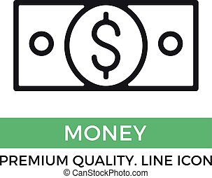 Vector money icon. 100 dollar bill banknote. Premium quality graphic design element. Modern sign, linear pictogram, outline symbol, simple thin line icon