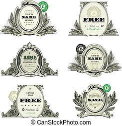 Easy to edit! Vector money logo and financial frames and ornaments. Great for any design showing money and success.