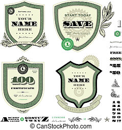 Vector Money Logo and Money Shield and Badge Set