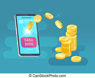 Vector money transfer from cellphone on blue