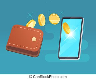 Vector money transfer from wallet into cellphone