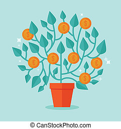 Vector money tree concept in flat style - green plant with...