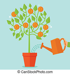 Vector money tree concept in flat style - green plant with ...