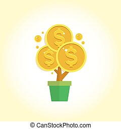 Vector money tree - symbol of successful business isolated on white background