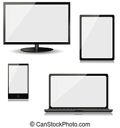 monitor, laptop, tablet computer and mobile phone