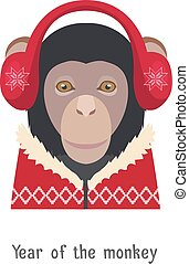 Vector Monkey head in red headphones, new year, christmas pullover