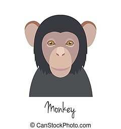 vector monkey head isolated. Flat style, cartoon object