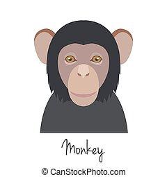 vector monkey head isolated. Flat style, cartoon object