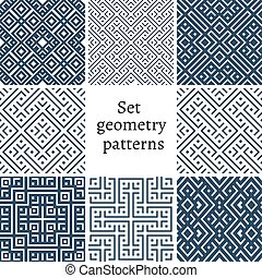 Vector mono line backgrounds with simple patterns - Set of...