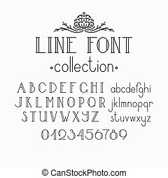 Vector mono line decorative font.