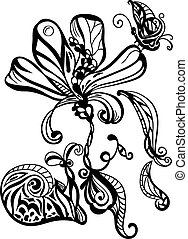 vector monochrome abstract hand drawn flower, snail, and butterfly