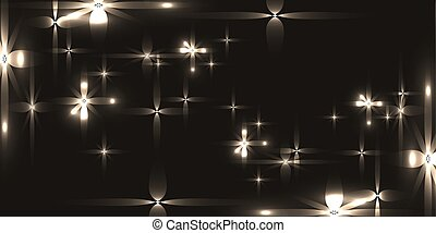 Vector monochrome background with shining light metal stars.