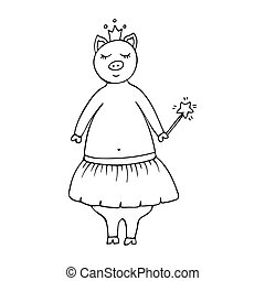 Vector monochrome hand-drawn illustration with a pig fairy in a crown and a magic wand.