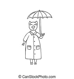 Vector monochrome hand-drawn illustration with a pig with an umbrella in the rain.