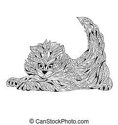 Vector monochrome hand drawn zentagle illustration of cat....