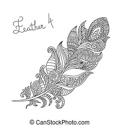 Vector monochrome hand drawn zentagle illustration of feather. Coloring page with high details isolated on white background.