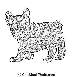 Vector monochrome hand drawn zentagle illustration of French...