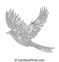 Vector monochrome hand drawn zentagle illustration of magpie. Coloring page with high details isolated on white background.