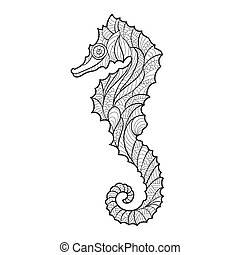 Vector monochrome hand drawn zentagle illustration of sea horse. Coloring page with high details isolated on white background. Boho style.