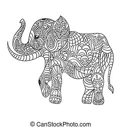 Vector monochrome hand drawn zentagle illustration of an elephant. Coloring page with high details isolated on white background. Boho style.